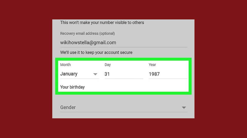 وارد کردن تاریخ تولد