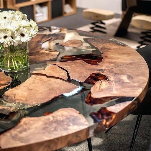 میز چوبی رزینی