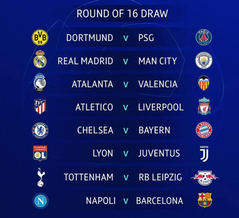 16 تیم مرحله حذفی لیگ قهرمانان اروپا 2020