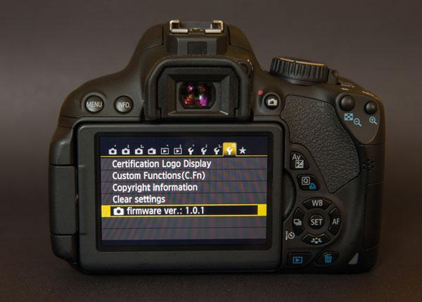 منو دوربین عکاسی قسمت ورژن سیستم عامل
