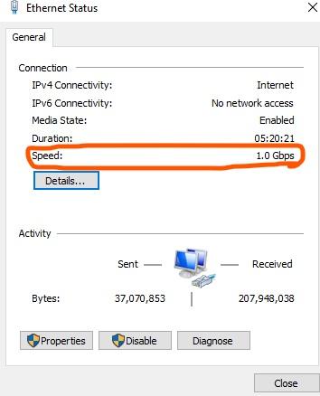مشاهده مقدار سرعت اینترنت