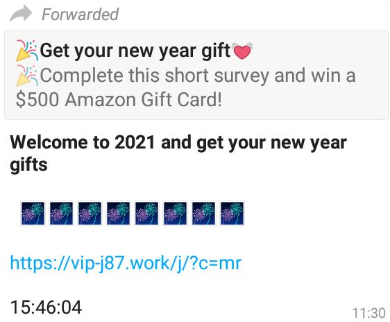 پیام جعلی تبریک سال جدید در واتس اپ