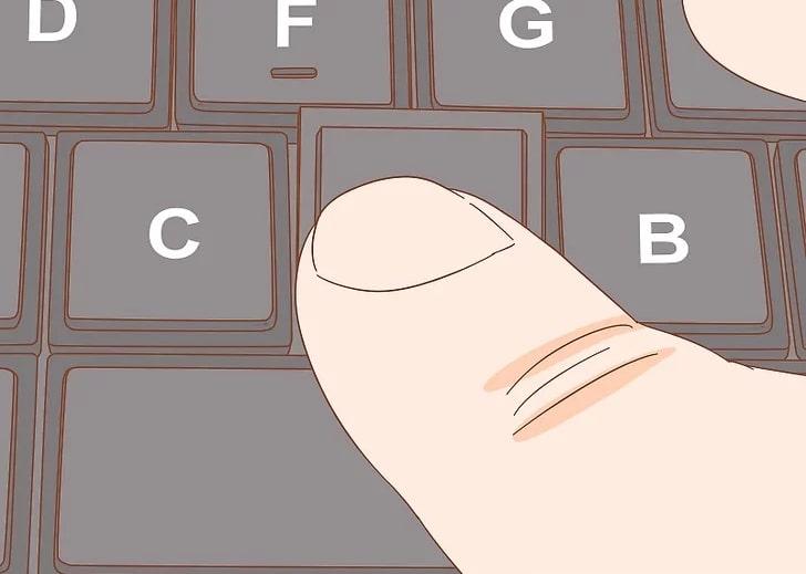 فشار دادن و اتصال کلید بر روی کیبورد