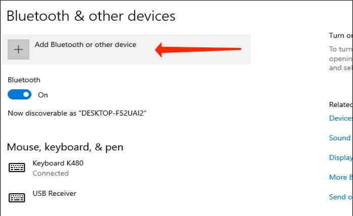 """گزینه """"Add Bluetooth or other device"""" را انتخاب کنید."""