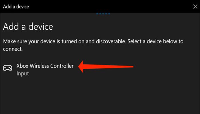 """بر روی گزینه """"Xbox Wireless Controller"""" کلیک کنید."""