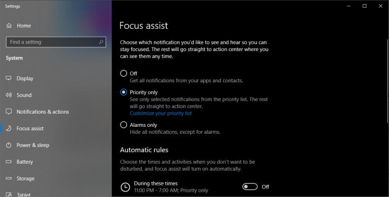 سایلنت کردن نوتیفیکیشن ها با استفاده از Focus Assist