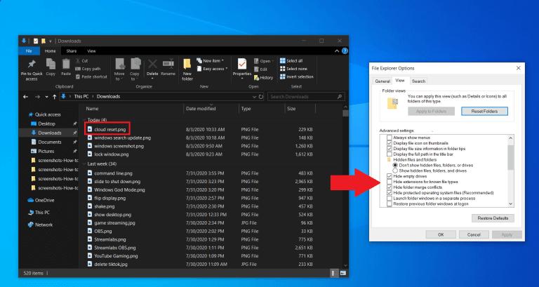 پسوندهای فایل ها را مشاهده کنید