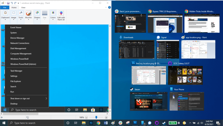 ترفند Drag to Pin Windows در ویندوز 10