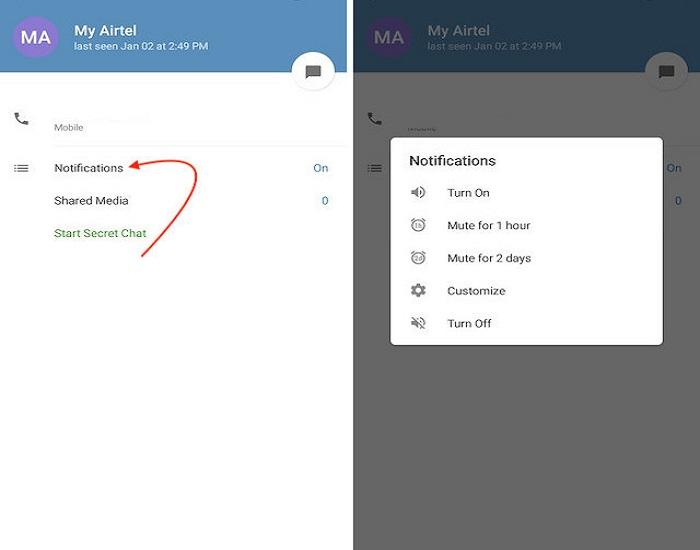 ترفند تلگرام برای غیر فعال کردن نوتیفیکیشن ها برای یک فرد خاص