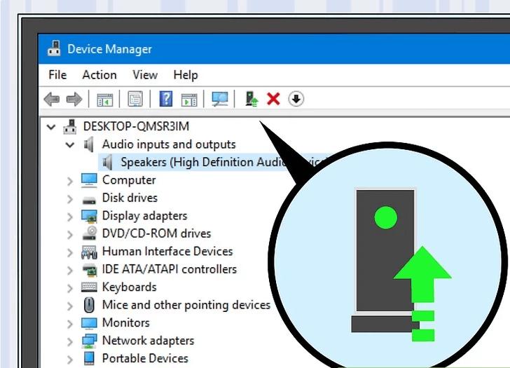 بر روی آیکون Update device driver کلیک کنید.