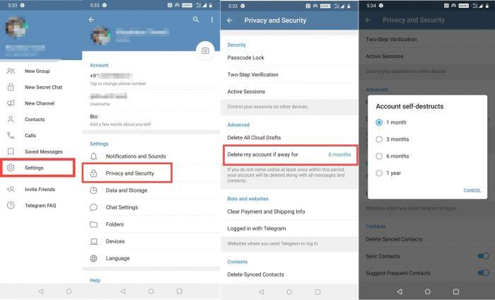 ترفند تلگرام برای حذف اکانت به طور خودکار