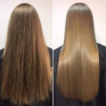 کراتین باعث می شود موها صاف و نرم تر  شوند.