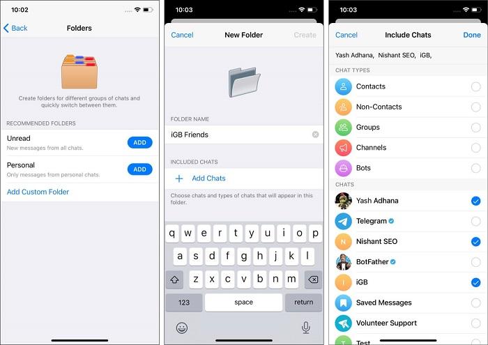 ترفند دسته بندی کردن چت ها در تلگرام
