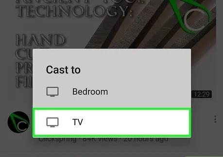 تلویزیون هوشمند خود را انتخاب کنید تا گوشی شما به آن متصل شود.