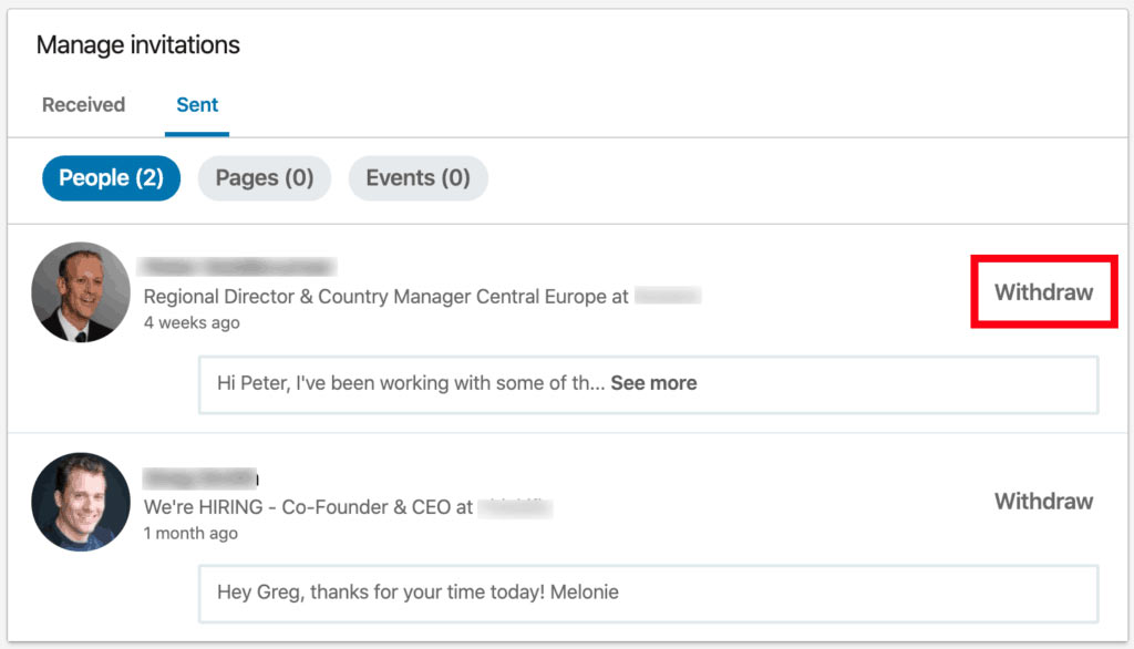 Linkedin/Pending Invitations